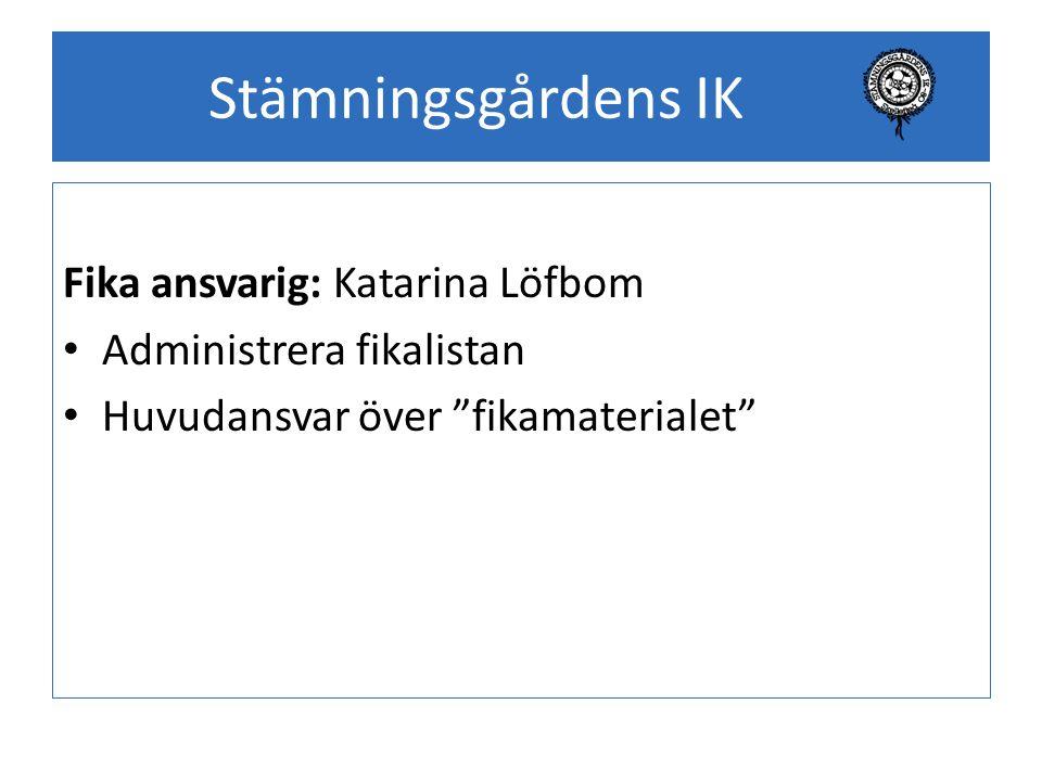 Stämningsgårdens IK Fika ansvarig: Katarina Löfbom Administrera fikalistan Huvudansvar över fikamaterialet