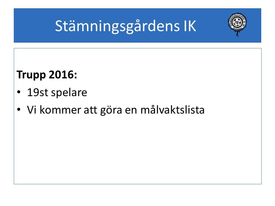 Stämningsgårdens IK Trupp 2016: 19st spelare Vi kommer att göra en målvaktslista