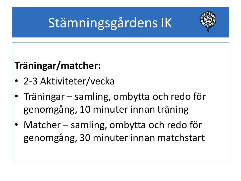Stämningsgårdens IK Träningar/matcher: 2-3 Aktiviteter/vecka Träningar – samling, ombytta och redo för genomgång, 10 minuter innan träning Matcher – s
