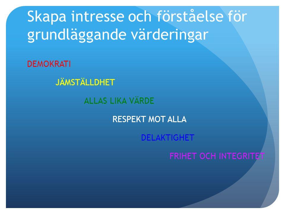 Skapa intresse och förståelse för grundläggande värderingar DEMOKRATI JÄMSTÄLLDHET ALLAS LIKA VÄRDE RESPEKT MOT ALLA DELAKTIGHET FRIHET OCH INTEGRITET
