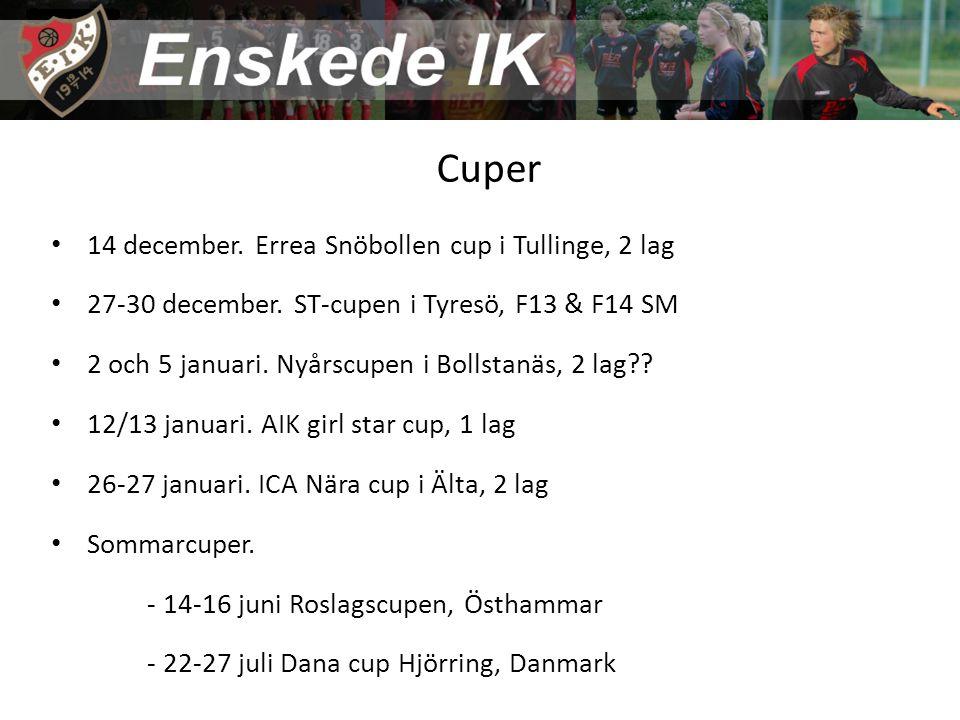 Cuper 14 december. Errea Snöbollen cup i Tullinge, 2 lag 27-30 december.