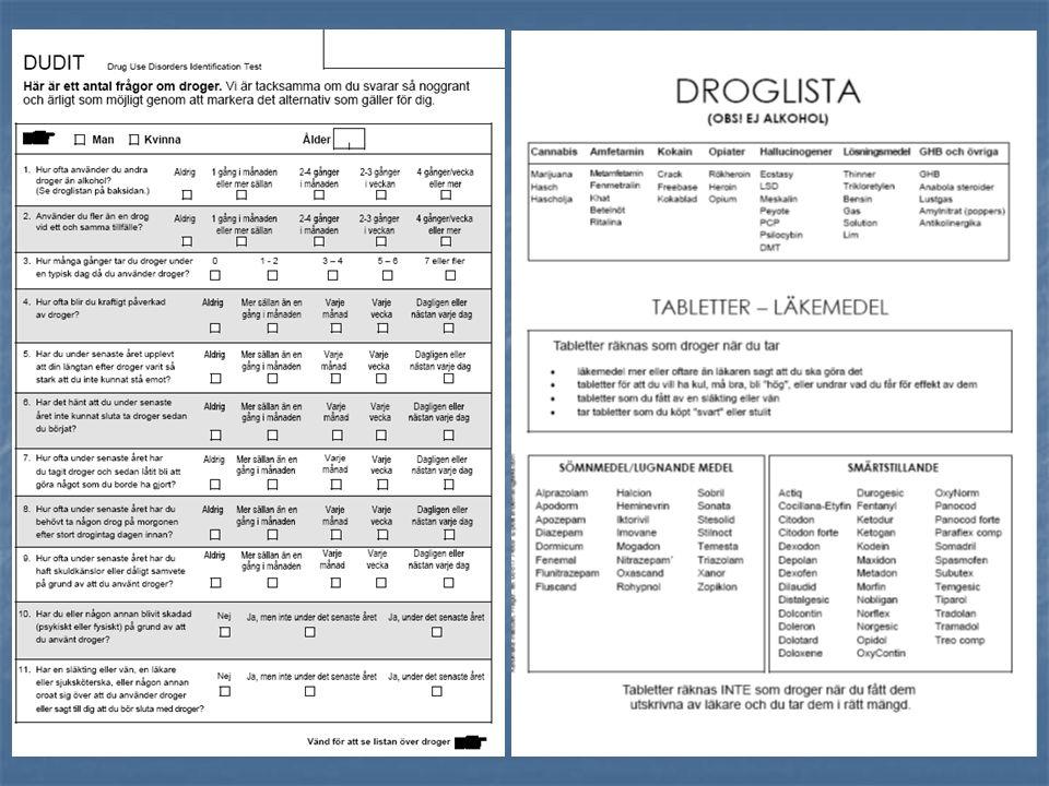 Etablera kontakt med patient/klient Identifiera problemet med DUDIT (och/eller urinprov) DUDIT poäng.