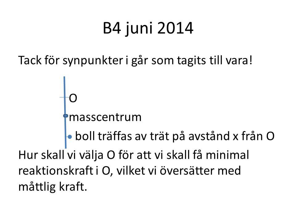 B4 juni 2014 Tack för synpunkter i går som tagits till vara.