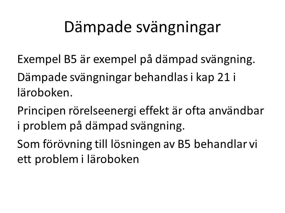 Dämpade svängningar Exempel B5 är exempel på dämpad svängning.