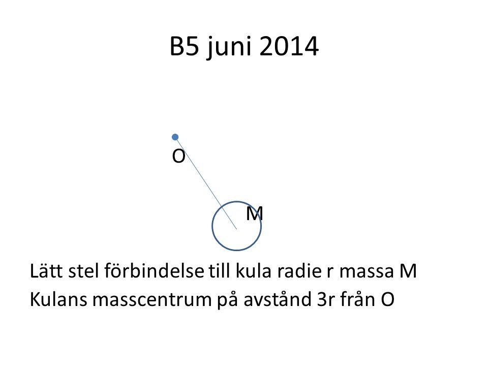 B5 juni 2014 O M Lätt stel förbindelse till kula radie r massa M Kulans masscentrum på avstånd 3r från O