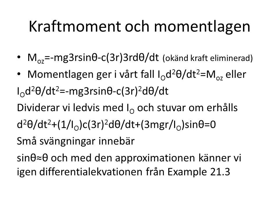 Kraftmoment och momentlagen M oz =-mg3rsinθ-c(3r)3rdθ/dt (okänd kraft eliminerad) Momentlagen ger i vårt fall I O d 2 θ/dt 2 =M oz eller I O d 2 θ/dt 2 =-mg3rsinθ-c(3r) 2 dθ/dt Dividerar vi ledvis med I O och stuvar om erhålls d 2 θ/dt 2 +(1/I O )c(3r) 2 dθ/dt+(3mgr/I O )sinθ=0 Små svängningar innebär sinθ≈θ och med den approximationen känner vi igen differentialekvationen från Example 21.3