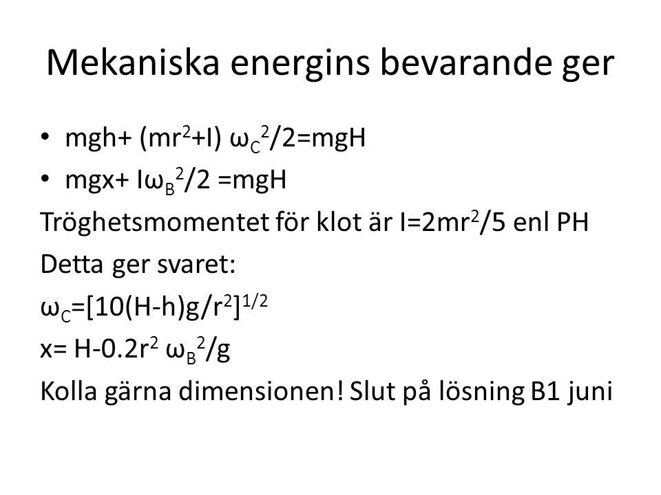 Mekaniska energins bevarande ger mgh+ (mr 2 +I) ω C 2 /2=mgH mgx+ Iω B 2 /2 =mgH Tröghetsmomentet för klot är I=2mr 2 /5 enl PH Detta ger svaret: ω C =[10(H-h)g/r 2 ] 1/2 x= H-0.2r 2 ω B 2 /g Kolla gärna dimensionen.