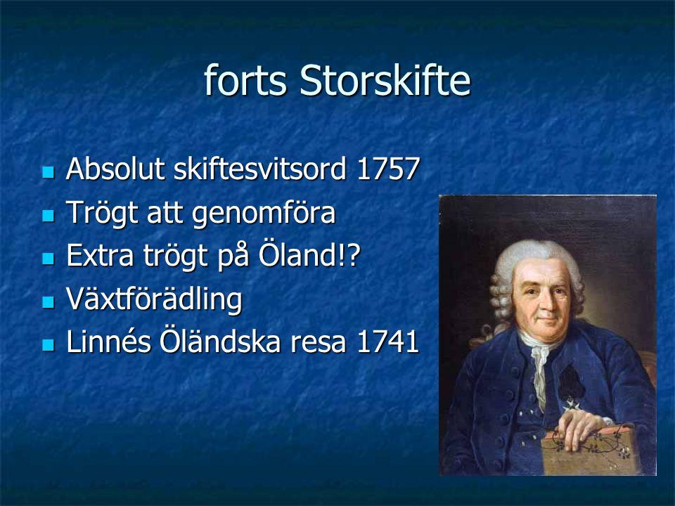 forts Storskifte Absolut skiftesvitsord 1757 Absolut skiftesvitsord 1757 Trögt att genomföra Trögt att genomföra Extra trögt på Öland!? Extra trögt på