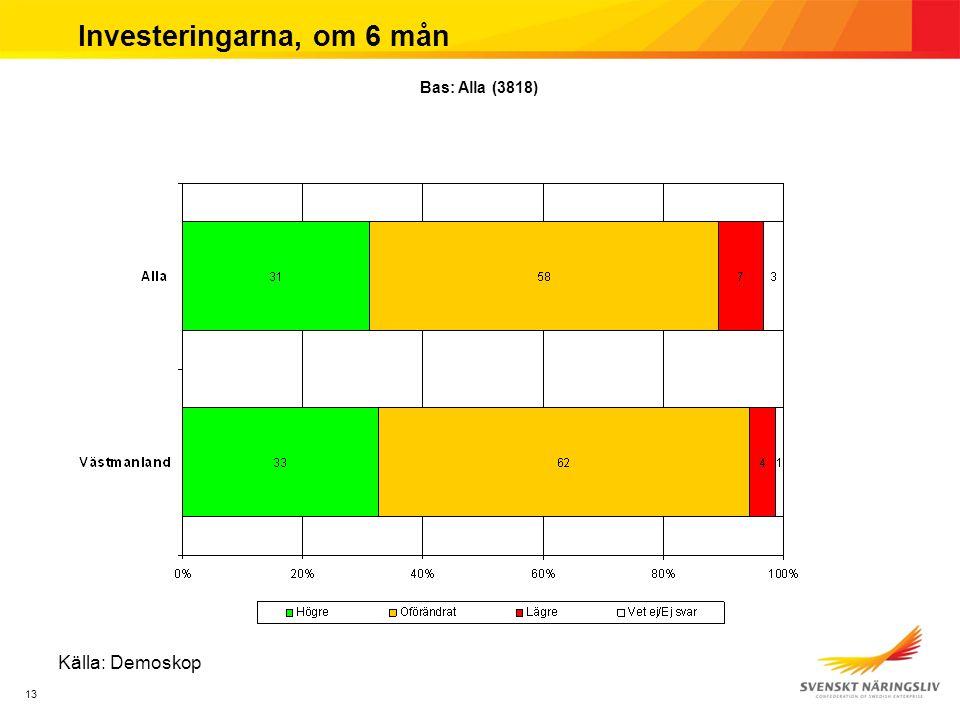 13 Investeringarna, om 6 mån Källa: Demoskop Bas: Alla (3818)