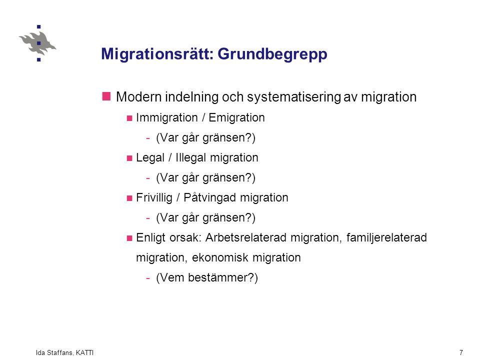 Ida Staffans, KATTI7 Migrationsrätt: Grundbegrepp Modern indelning och systematisering av migration Immigration / Emigration -(Var går gränsen ) Legal / Illegal migration -(Var går gränsen ) Frivillig / Påtvingad migration -(Var går gränsen ) Enligt orsak: Arbetsrelaterad migration, familjerelaterad migration, ekonomisk migration -(Vem bestämmer )