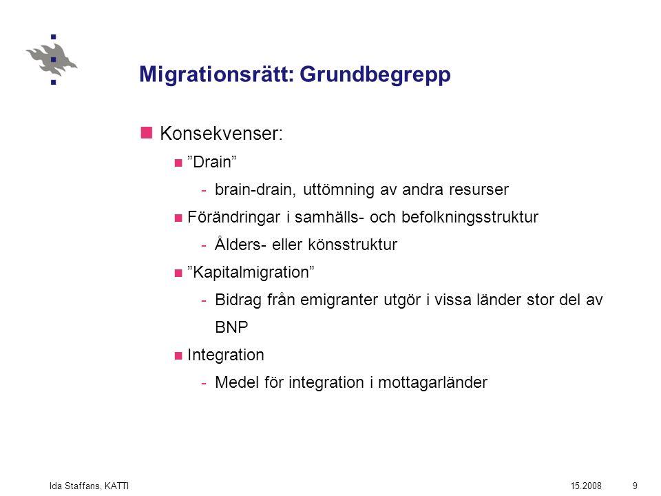 15.2008Ida Staffans, KATTI9 Migrationsrätt: Grundbegrepp Konsekvenser: Drain -brain-drain, uttömning av andra resurser Förändringar i samhälls- och befolkningsstruktur -Ålders- eller könsstruktur Kapitalmigration -Bidrag från emigranter utgör i vissa länder stor del av BNP Integration -Medel för integration i mottagarländer