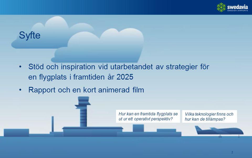 Syfte 2 Stöd och inspiration vid utarbetandet av strategier för en flygplats i framtiden år 2025 Rapport och en kort animerad film Hur kan en framtida flygplats se ut ur ett operativt perspektiv.
