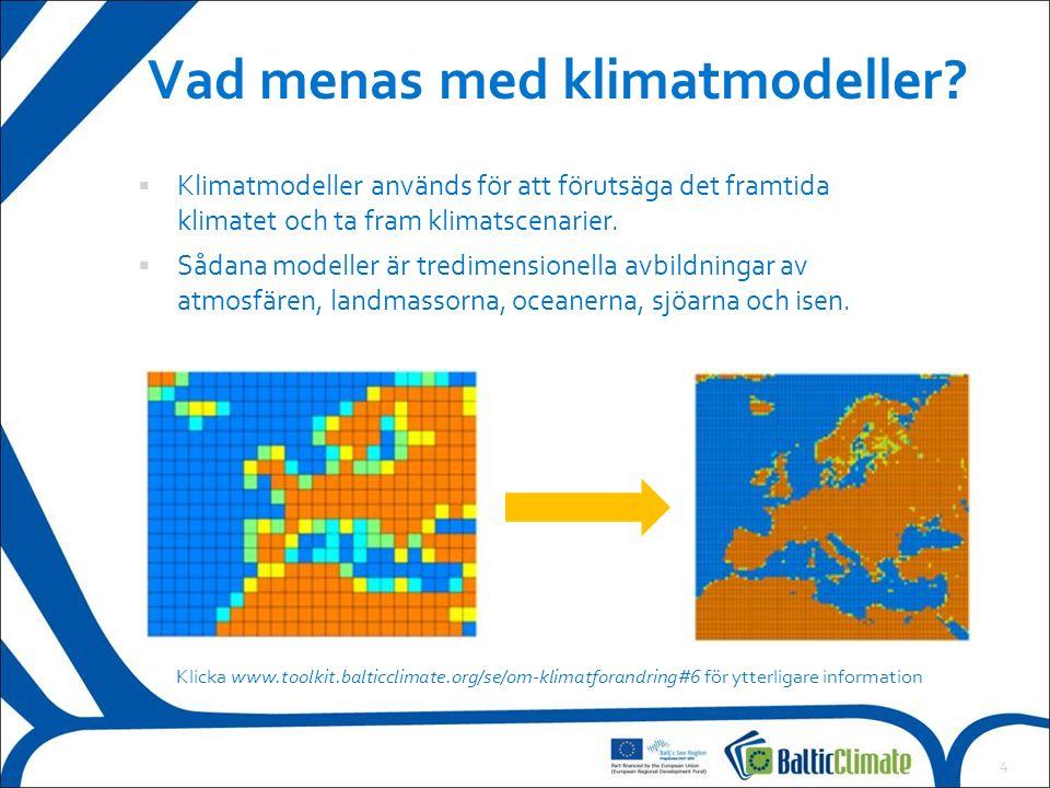 4  Klimatmodeller används för att förutsäga det framtida klimatet och ta fram klimatscenarier.