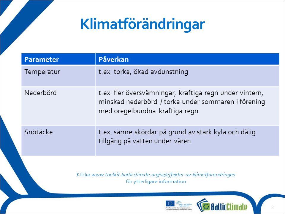 8 Klimatförändringar ParameterPåverkan Temperaturt.ex.