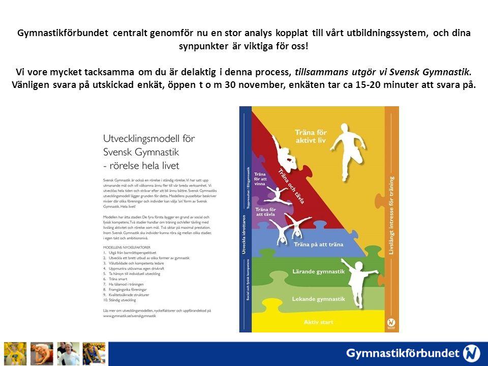 Gymnastikförbundet centralt genomför nu en stor analys kopplat till vårt utbildningssystem, och dina synpunkter är viktiga för oss! Vi vore mycket tac