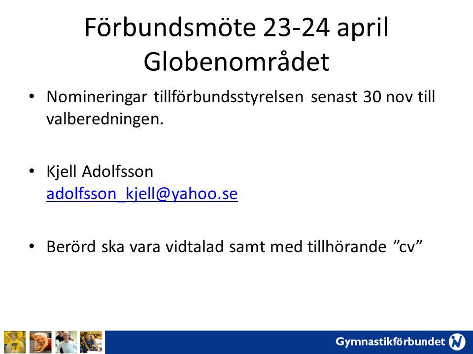 Förbundsmöte 23-24 april Globenområdet Nomineringar tillförbundsstyrelsen senast 30 nov till valberedningen. Kjell Adolfsson adolfsson_kjell@yahoo.se