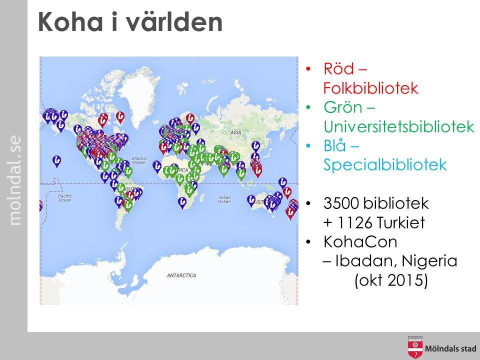 molndal.se Koha i världen Röd – Folkbibliotek Grön – Universitetsbibliotek Blå – Specialbibliotek 3500 bibliotek + 1126 Turkiet KohaCon – Ibadan, Nige