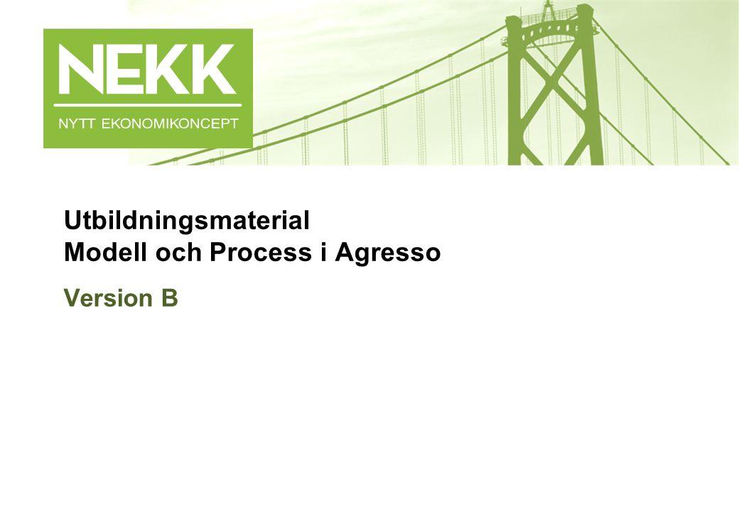 - 1 - Utbildningsmaterial Modell och Process i Agresso Version B