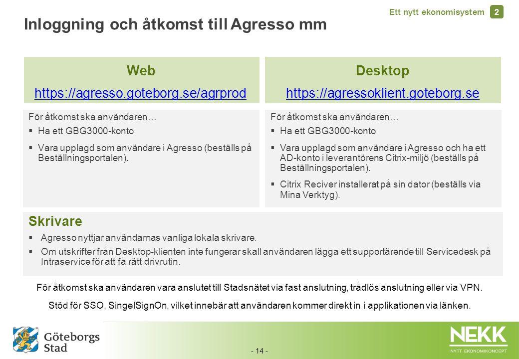 - 14 - För åtkomst ska användaren…  Ha ett GBG3000-konto  Vara upplagd som användare i Agresso (beställs på Beställningsportalen). Inloggning och åt