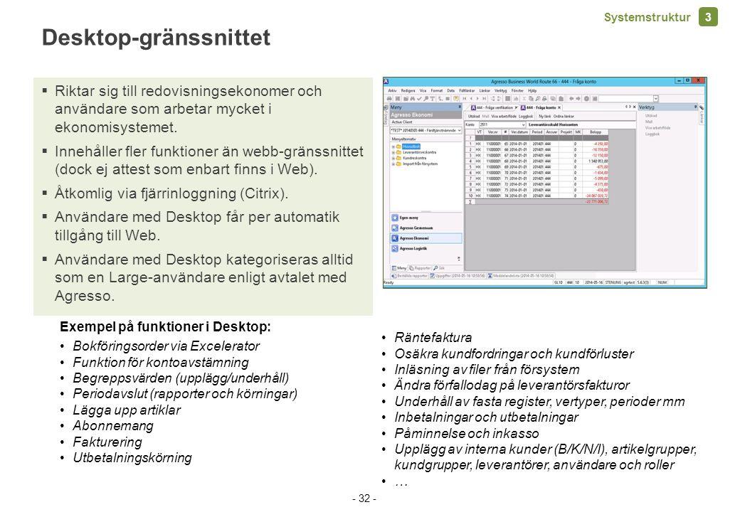 Desktop-gränssnittet  Riktar sig till redovisningsekonomer och användare som arbetar mycket i ekonomisystemet.  Innehåller fler funktioner än webb-g