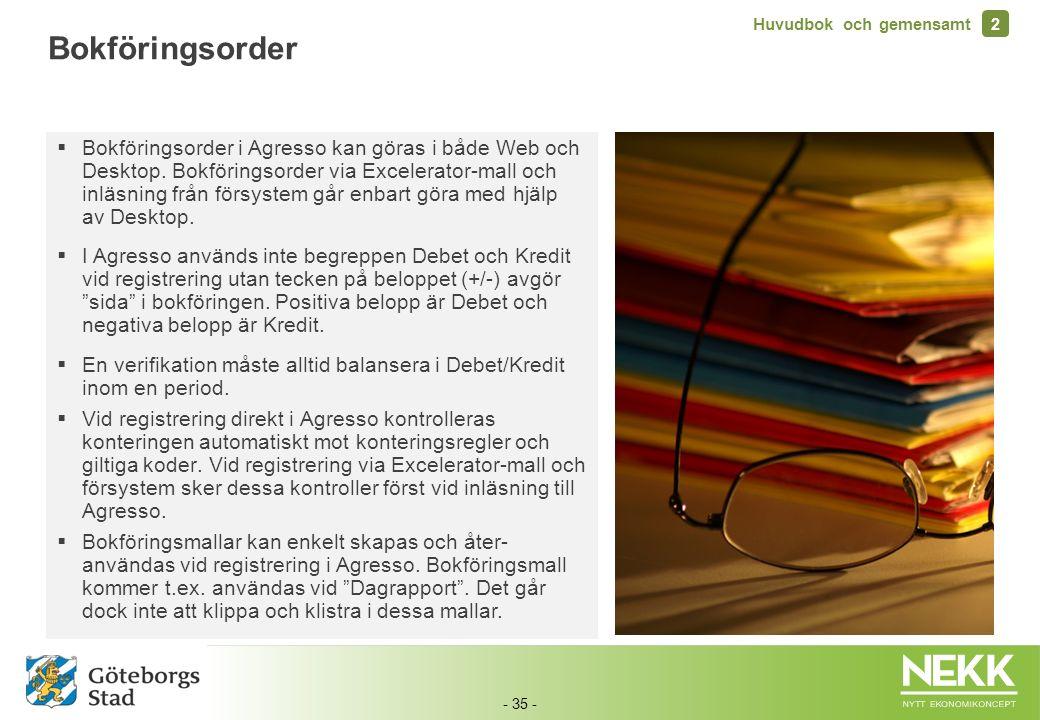 - 35 -  Bokföringsorder i Agresso kan göras i både Web och Desktop. Bokföringsorder via Excelerator-mall och inläsning från försystem går enbart göra