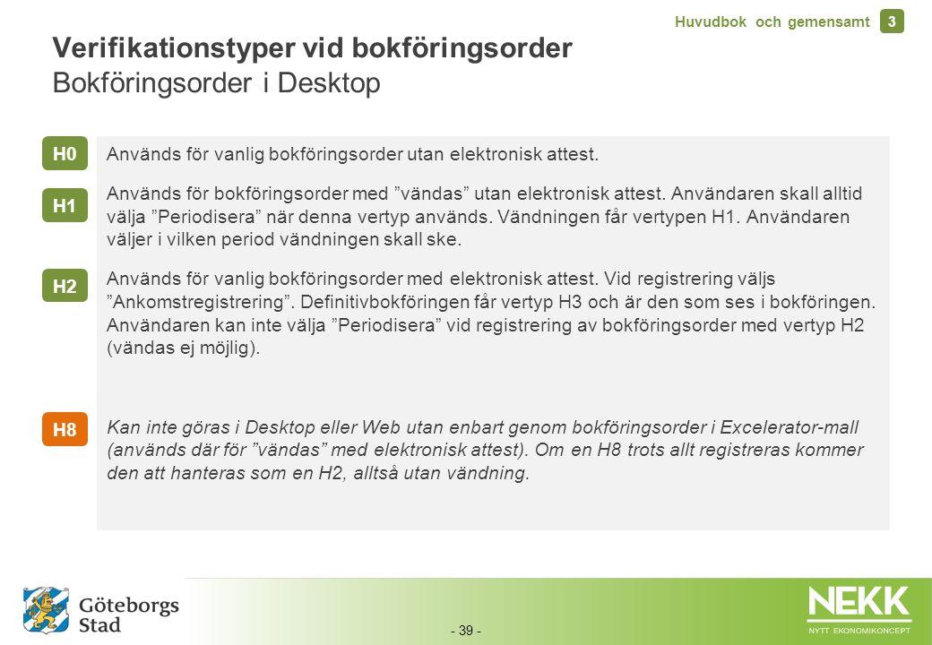 - 39 - Verifikationstyper vid bokföringsorder Bokföringsorder i Desktop Används för vanlig bokföringsorder utan elektronisk attest. Används för bokför