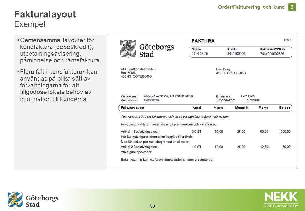 - 58 - Ert ordernr: 129988 Fakturalayout Exempel Order/Fakturering och kund 2  Gemensamma layouter för kundfaktura (debet/kredit), utbetalningsaviser