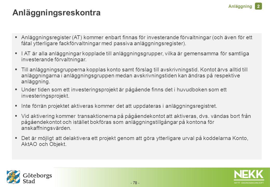 - 78 -  Anläggningsregister (AT) kommer enbart finnas för investerande förvaltningar (och även för ett fåtal ytterligare fackförvaltningar med passiv