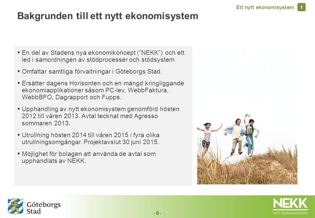 """- 8 -  En del av Stadens nya ekonomikoncept (""""NEKK"""") och ett led i samordningen av stödprocesser och stödsystem  Omfattar samtliga förvaltningar i G"""