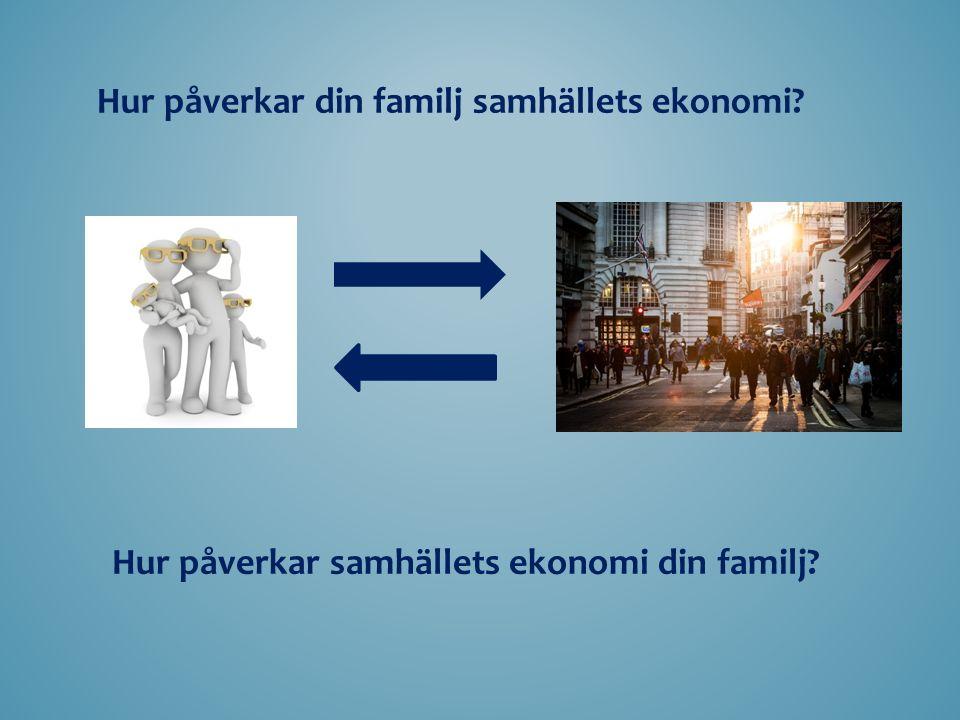 Hur påverkar din familj samhällets ekonomi Hur påverkar samhällets ekonomi din familj