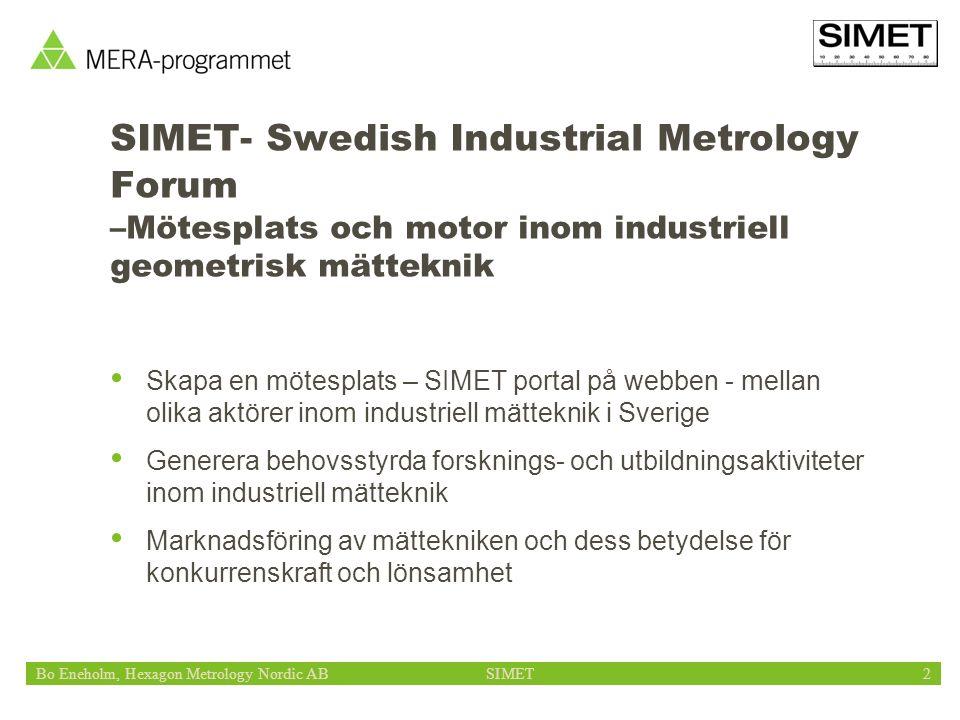 Bo Eneholm, Hexagon Metrology Nordic ABSIMET2 SIMET- Swedish Industrial Metrology Forum –Mötesplats och motor inom industriell geometrisk mätteknik Sk