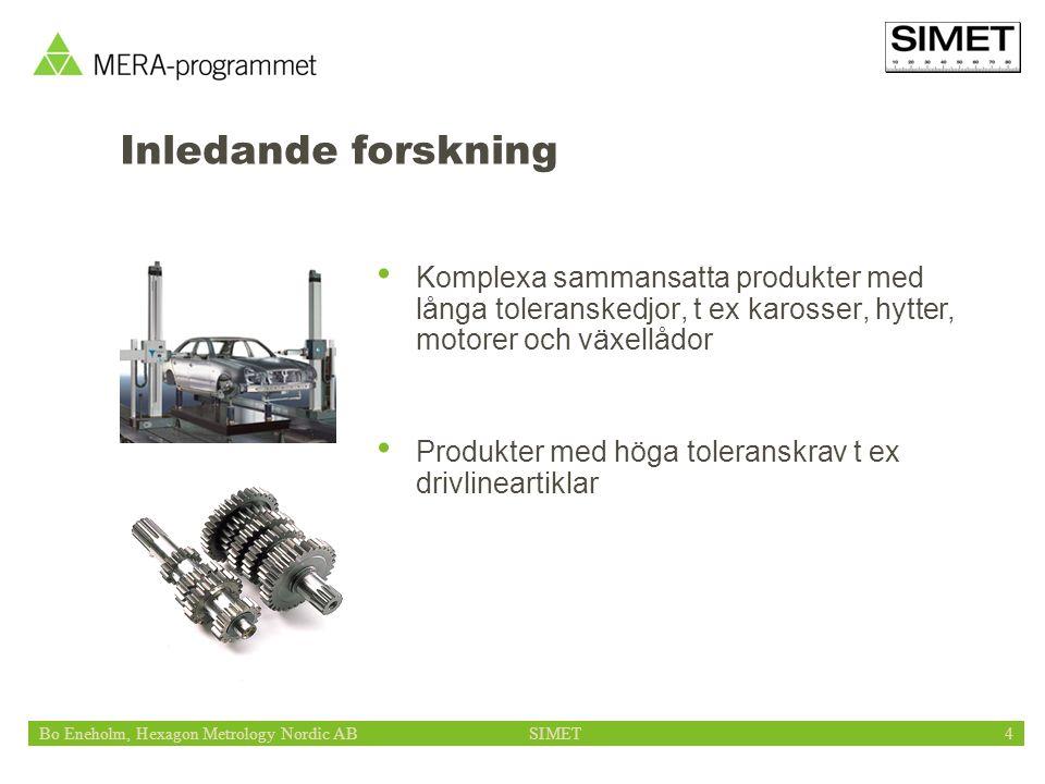 Bo Eneholm, Hexagon Metrology Nordic ABSIMET4 Inledande forskning Komplexa sammansatta produkter med långa toleranskedjor, t ex karosser, hytter, motorer och växellådor Produkter med höga toleranskrav t ex drivlineartiklar