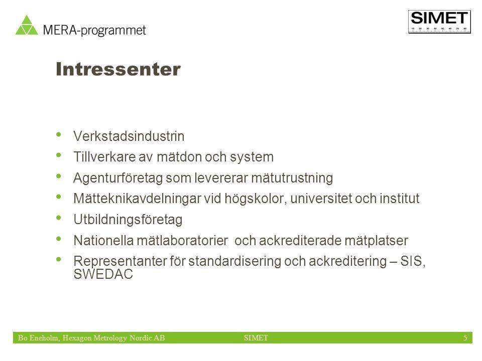 Bo Eneholm, Hexagon Metrology Nordic ABSIMET5 Intressenter Verkstadsindustrin Tillverkare av mätdon och system Agenturföretag som levererar mätutrustning Mätteknikavdelningar vid högskolor, universitet och institut Utbildningsföretag Nationella mätlaboratorier och ackrediterade mätplatser Representanter för standardisering och ackreditering – SIS, SWEDAC