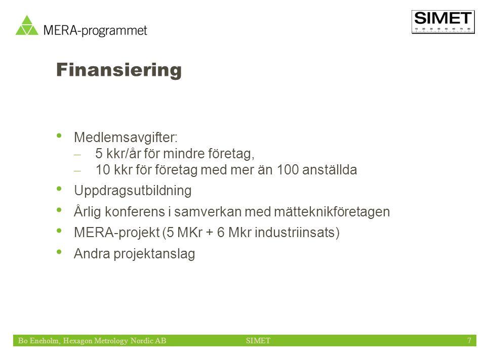 Bo Eneholm, Hexagon Metrology Nordic ABSIMET7 Finansiering Medlemsavgifter: – 5 kkr/år för mindre företag, – 10 kkr för företag med mer än 100 anställda Uppdragsutbildning Årlig konferens i samverkan med mätteknikföretagen MERA-projekt (5 MKr + 6 Mkr industriinsats) Andra projektanslag