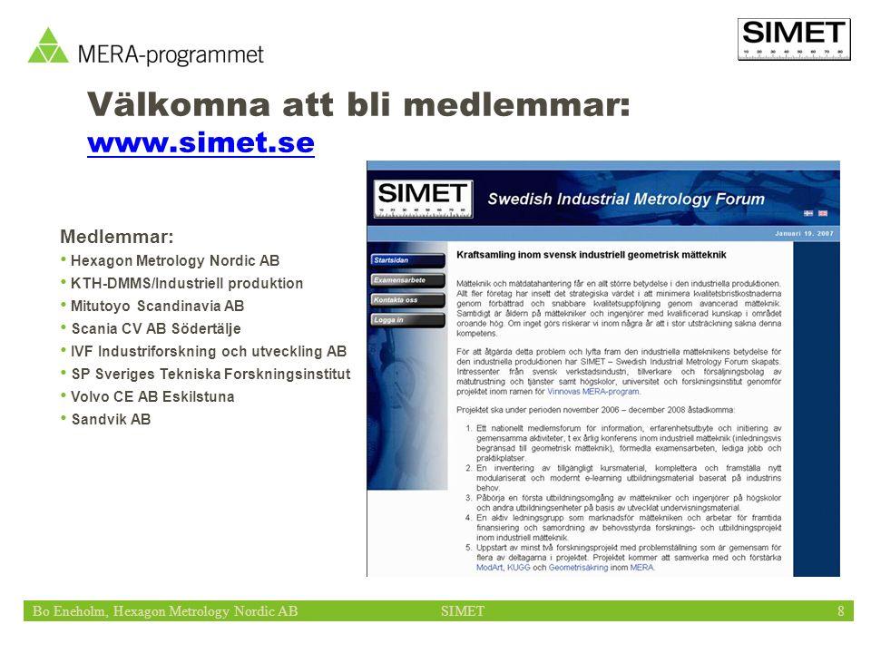 Bo Eneholm, Hexagon Metrology Nordic ABSIMET8 Välkomna att bli medlemmar: www.simet.se Medlemmar: Hexagon Metrology Nordic AB KTH-DMMS/Industriell pro