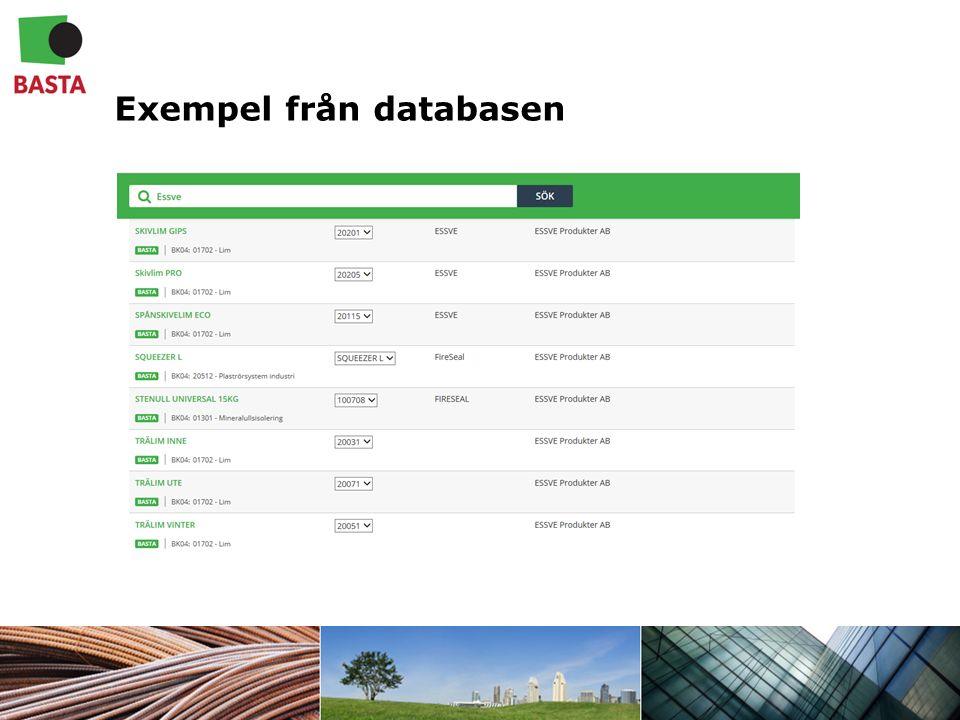 Exempel från databasen