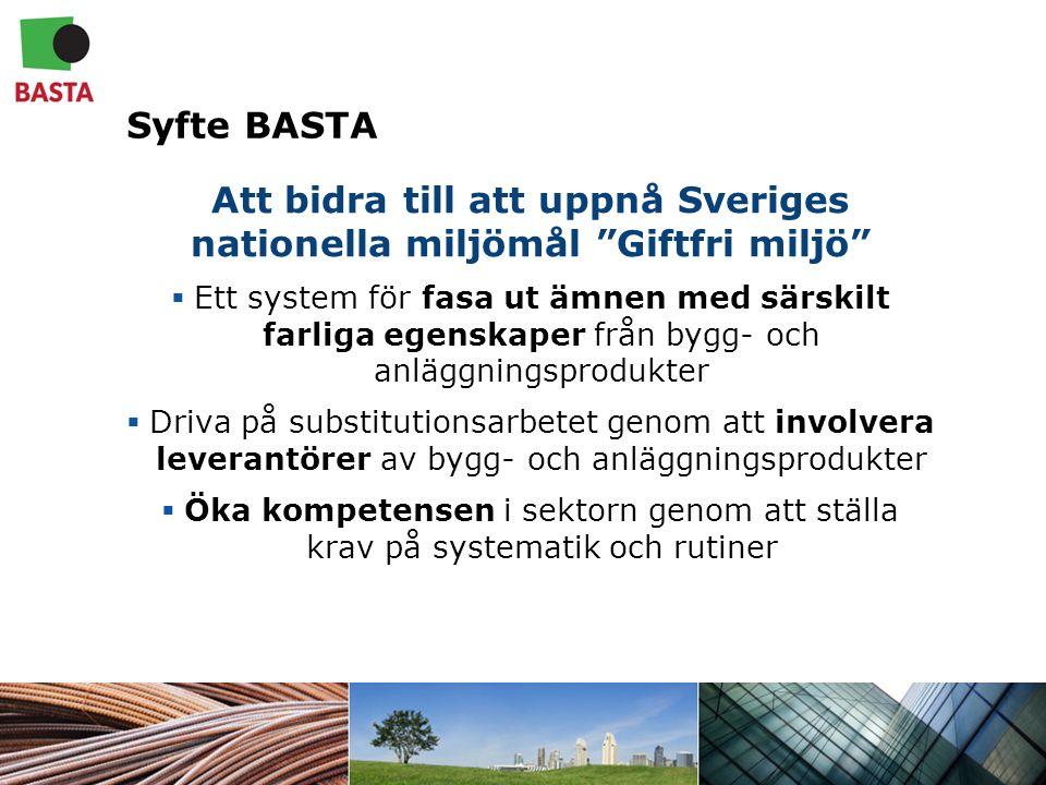 Syfte BASTA Att bidra till att uppnå Sveriges nationella miljömål Giftfri miljö  Ett system för fasa ut ämnen med särskilt farliga egenskaper från bygg- och anläggningsprodukter  Driva på substitutionsarbetet genom att involvera leverantörer av bygg- och anläggningsprodukter  Öka kompetensen i sektorn genom att ställa krav på systematik och rutiner