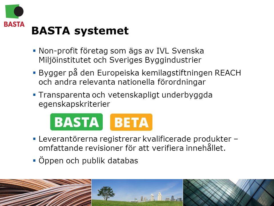 BASTA systemet  Non-profit företag som ägs av IVL Svenska Miljöinstitutet och Sveriges Byggindustrier  Bygger på den Europeiska kemilagstiftningen REACH och andra relevanta nationella förordningar  Transparenta och vetenskapligt underbyggda egenskapskriterier  Leverantörerna registrerar kvalificerade produkter – omfattande revisioner för att verifiera innehållet.