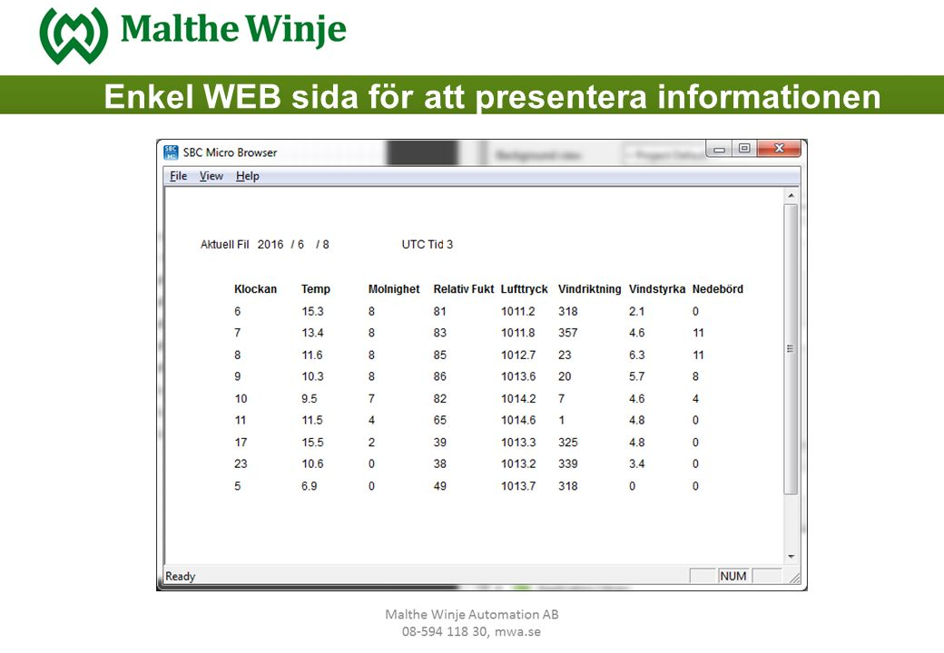 Enkel WEB sida för att presentera informationen