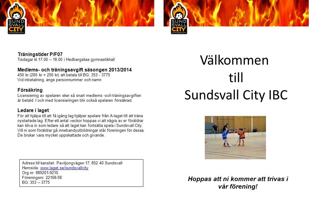 Välkommen till Sundsvall City IBC Träningstider P/F07 Tisdagar kl.17.00 – 18.00 i Hedbergskas gymnastikhall Medlems- och träningsavgift säsongen 2013/2014 450 kr (200 kr + 250 kr) att betala till BG: 353 - 3775 Vid inbetalning, ange personnummer och namn Försäkring Licensiering av spelaren sker så snart medlems -och träningsavgiften är betald.