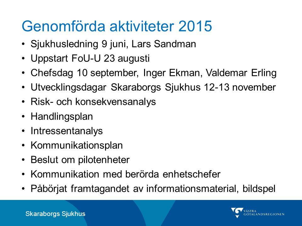 Skaraborgs Sjukhus Genomförda aktiviteter 2015 Sjukhusledning 9 juni, Lars Sandman Uppstart FoU-U 23 augusti Chefsdag 10 september, Inger Ekman, Valde