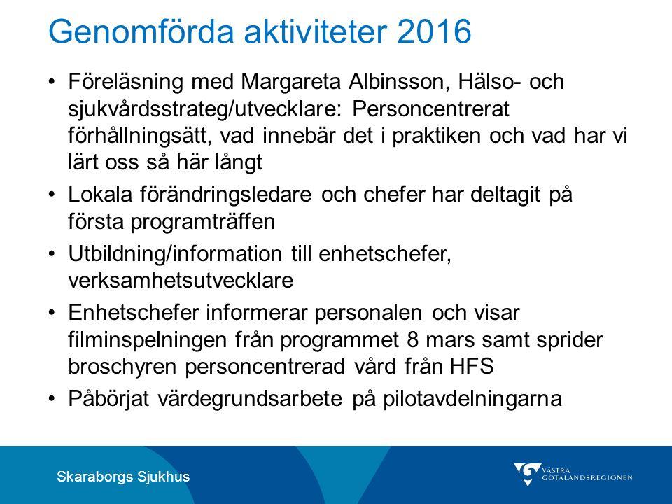 Skaraborgs Sjukhus Genomförda aktiviteter 2016 Föreläsning med Margareta Albinsson, Hälso- och sjukvårdsstrateg/utvecklare: Personcentrerat förhållnin