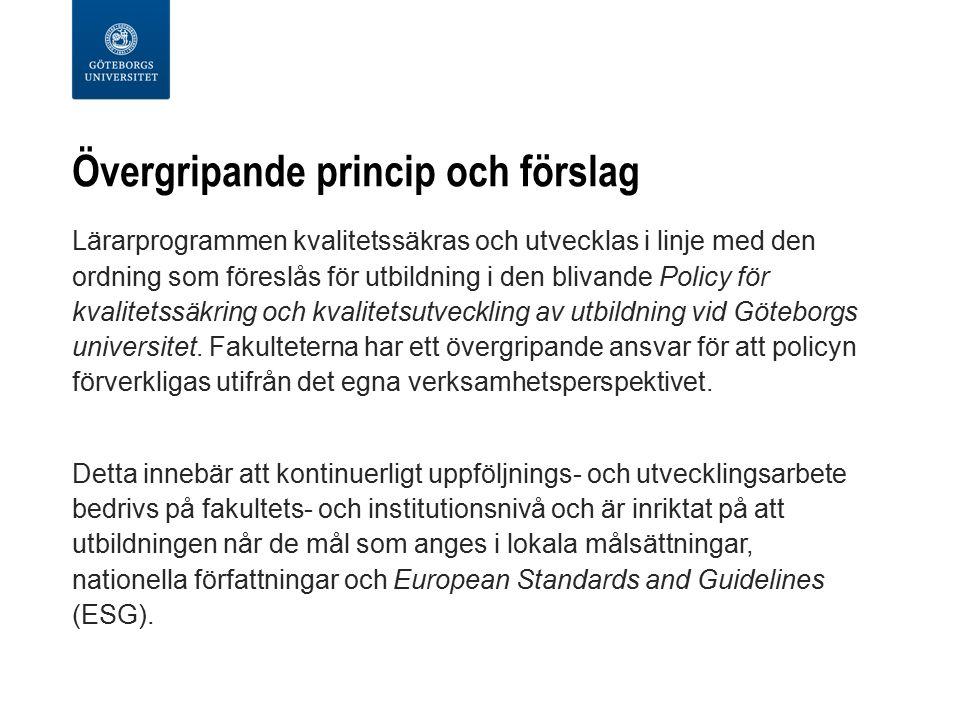 Övergripande princip och förslag Lärarprogrammen kvalitetssäkras och utvecklas i linje med den ordning som föreslås för utbildning i den blivande Policy för kvalitetssäkring och kvalitetsutveckling av utbildning vid Göteborgs universitet.