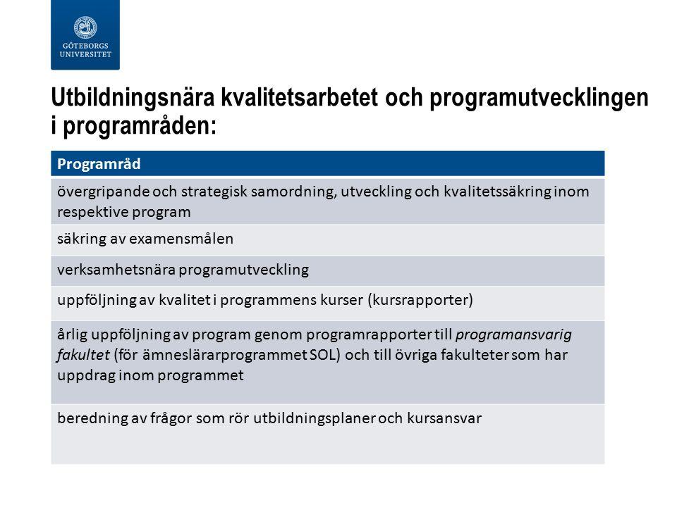 Utbildningsnära kvalitetsarbetet och programutvecklingen i programråden: Programråd övergripande och strategisk samordning, utveckling och kvalitetssäkring inom respektive program säkring av examensmålen verksamhetsnära programutveckling uppföljning av kvalitet i programmens kurser (kursrapporter) årlig uppföljning av program genom programrapporter till programansvarig fakultet (för ämneslärarprogrammet SOL) och till övriga fakulteter som har uppdrag inom programmet beredning av frågor som rör utbildningsplaner och kursansvar