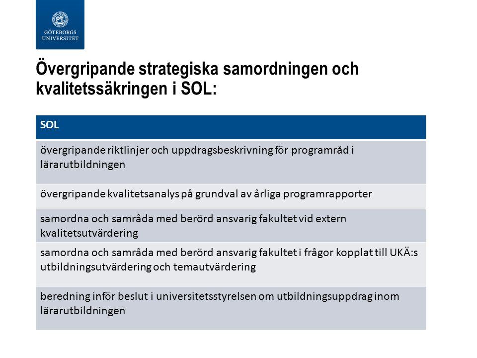 Övergripande strategiska samordningen och kvalitetssäkringen i SOL: SOL övergripande riktlinjer och uppdragsbeskrivning för programråd i lärarutbildningen övergripande kvalitetsanalys på grundval av årliga programrapporter samordna och samråda med berörd ansvarig fakultet vid extern kvalitetsutvärdering samordna och samråda med berörd ansvarig fakultet i frågor kopplat till UKÄ:s utbildningsutvärdering och temautvärdering beredning inför beslut i universitetsstyrelsen om utbildningsuppdrag inom lärarutbildningen