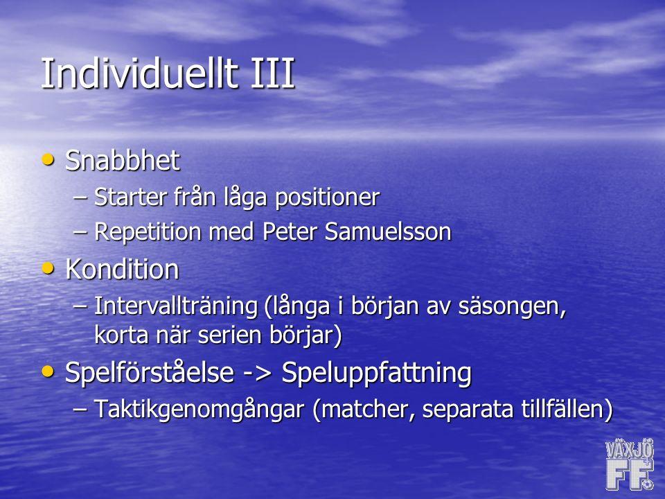 Individuellt III Snabbhet Snabbhet –Starter från låga positioner –Repetition med Peter Samuelsson Kondition Kondition –Intervallträning (långa i början av säsongen, korta när serien börjar) Spelförståelse -> Speluppfattning Spelförståelse -> Speluppfattning –Taktikgenomgångar (matcher, separata tillfällen)