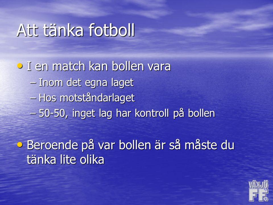 Att tänka fotboll I en match kan bollen vara I en match kan bollen vara –Inom det egna laget –Hos motståndarlaget –50-50, inget lag har kontroll på bollen Beroende på var bollen är så måste du tänka lite olika Beroende på var bollen är så måste du tänka lite olika