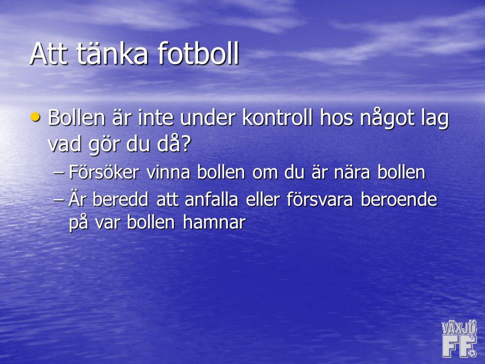 Att tänka fotboll Bollen är inte under kontroll hos något lag vad gör du då.