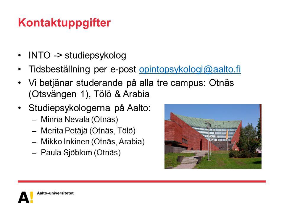 Kontaktuppgifter INTO -> studiepsykolog Tidsbeställning per e-post opintopsykologi@aalto.fiopintopsykologi@aalto.fi Vi betjänar studerande på alla tre campus: Otnäs (Otsvängen 1), Tölö & Arabia Studiepsykologerna på Aalto: –Minna Nevala (Otnäs) –Merita Petäjä (Otnäs, Tölö) –Mikko Inkinen (Otnäs, Arabia) –Paula Sjöblom (Otnäs)