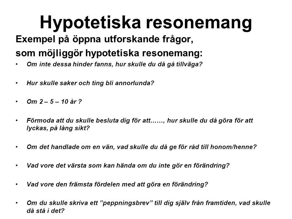 Hypotetiska resonemang Exempel på öppna utforskande frågor, som möjliggör hypotetiska resonemang: Om inte dessa hinder fanns, hur skulle du då gå tillväga.